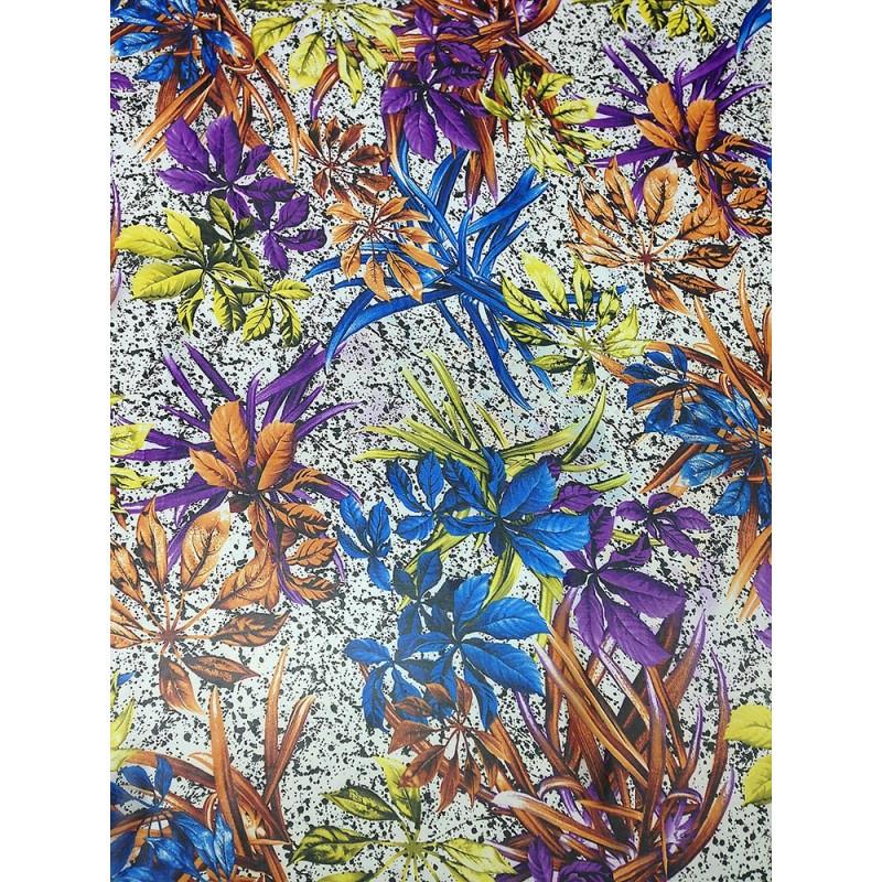 Шифон принт - белый фон разноцветные тропические листья, синий, оранжевый, желтый, фиолетовый