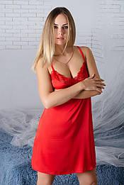 Ночнушка с кружевом Н941 Красный