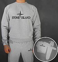 Зимний спортивный костюм, теплый костюм Stone Island серый, реплика