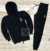 Зимний спортивный костюм, теплый костюм Armani черного цвета, реплика