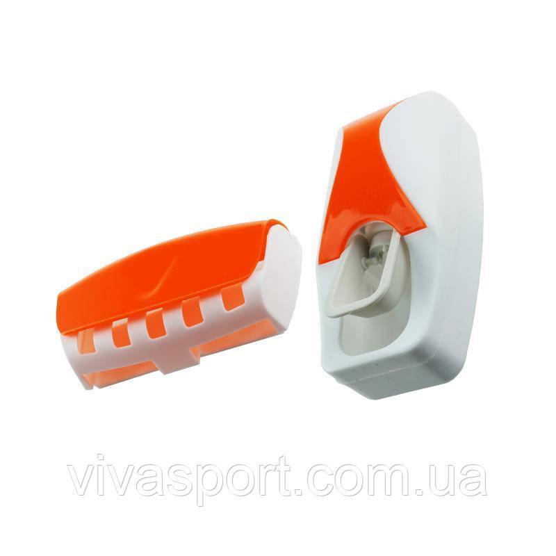 Дозатор для зубной пасты с держателем для щеток, оранжевый