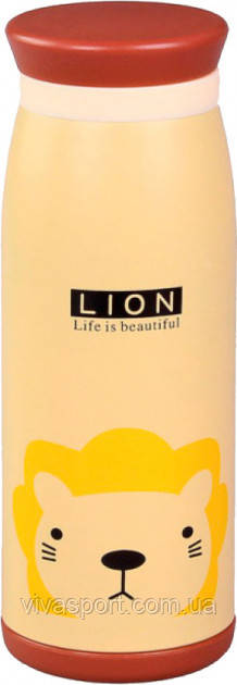 Бутылочка-термос с рисунком, львенок