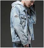Рваная джинсовая курточка с нашивками светло синяя мужская, фото 2