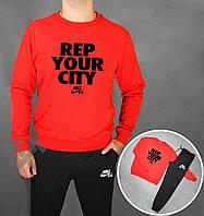 Зимний спортивный костюм , костюм на флисе Nike Air черный красная толстовка ,реплика