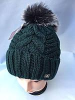 Женская шапка с помпоном 3399 микс оптом, фото 1