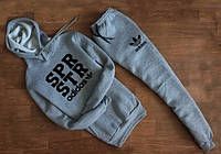 Зимний спортивный костюм, теплый костюм Adidas серый кенгуру, ф4667