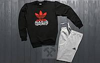 Мужской зимний спортивный костюм , костюм на флисе Adidas черный с серым ,реплика