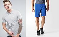 Мужской комплект поло + шорты Adidas серого и голубого цвета