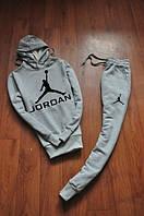 Зимний спортивный костюм , костюм на флисе Jordan кенгуру серый,ф765
