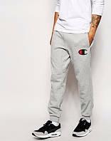 Теплые спортивные штаны, зимние штаны, зимние Теплые спортивные штаны, зимние штаны с манжетой Champion серые, трикотаж, ф3551