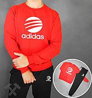 Зимний спортивный костюм , костюм на флисе Adidas, адидас , красная кофта черные штаны, молодежный, спортивный, реглан