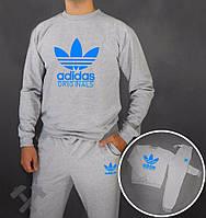 Зимний спортивный костюм , костюм на флисе Adidas, адидас, серый, реглан, хлопковый, синее лого, стильный