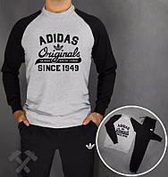 Зимний спортивный костюм , костюм на флисе Adidas, адидас, серо-черный, реглан, хлопковый, тренировочный, стильный