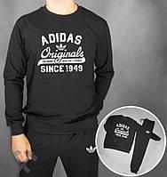 Зимний спортивный костюм , костюм на флисе Adidas, адидас, черный, реглан, хлопковый, спортивный, большое лого
