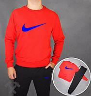Зимний спортивный костюм , костюм на флисе Nike, найк, реглан, красная кофта, черные штаны, стильный, хлопковый
