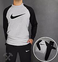 Зимний спортивный костюм, теплый костюм Nike, найк, серо-черный, реглан, хб, мелкое лого, стильный, спортивный