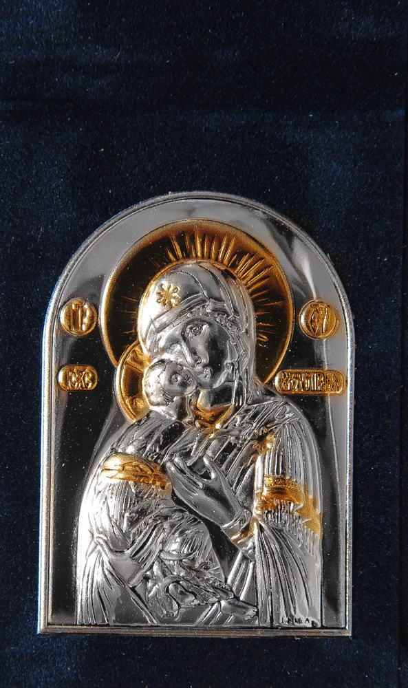 Икона-складень Владимирская Богородица 5,7х8см в бархатной основе