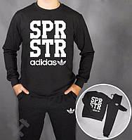 Зимний спортивный костюм , костюм на флисе Adidas, адидас, черный, реглан, хлопковый, спортивный, в наличии