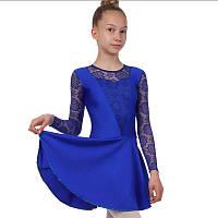 Платье рейтинговое (бейсик) с длинным рукавом и гипюровыми вставками Zelart DR-1642-BL (бифлекс, р-р RUS-32-42, рост 122-164см, синий)