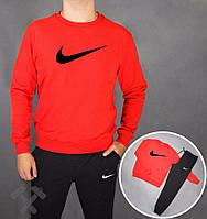 Зимний спортивный костюм , костюм на флисе Nike, найк, реглан, красная кофта, черные штаны, хлопковый, черное лого