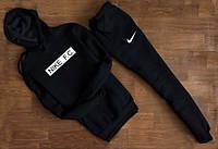 Зимний спортивный костюм, теплый костюм Nike черный, кенгуру, к4656
