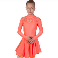Платье рейтинговое (бейсик) с длинным рукавом и гипюровыми вставками Zelart DR-1494-C (бифлекс, р-р RUS-32-42, рост 122-164см, коралловый)