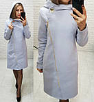Пальто кашемір арт. 136 с капюшоном світлий сірий / сірий / світло сірого кольору