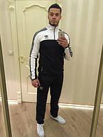 Зимний спортивный костюм, теплый костюм Adidas, черная кофта с белым верхом, черные штаны, с лампасами с596
