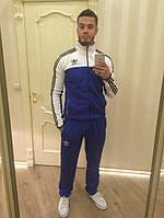 Зимний спортивный костюм, теплый костюм Adidas, синий костюм с белым верхом, с лампасами, с598