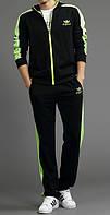 Зимний спортивный костюм, теплый костюм Adidas, черный костюм, с салатовыми лампасами, с2989