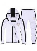 Зимний спортивный костюм, теплый костюм Armani, белый костюм, с капюшоном, с лампасами, с2998