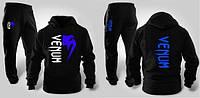 Зимний спортивный костюм, теплый костюм Venum, черный, кенгуру, хлопковый, с3300