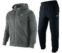 Зимний спортивный костюм, теплый костюм найк, темно-серый верх, черный низ, с3400
