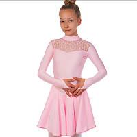 Платье рейтинговое (бейсик) с длинным рукавом и гипюровыми вставками Zelart DR-1494-LP (бифлекс, р-р RUS-32-42, рост 122-164см, светло-розовый)