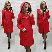 Пальто кашемир арт. 136 с капюшоном красное / цвет красный / красного цвета