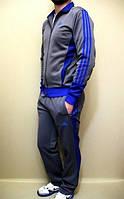 Зимний спортивный костюм , костюм на флисе Adidas, серый костюм, с синими лампасами, с253