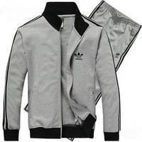 Зимний спортивный костюм, теплый костюм Adidas, серый костюм, с лампасами, с257