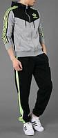 Зимний спортивный костюм, теплый костюм Adidas, серая кофта с черным верхом, черные штаны, с лампасами с260