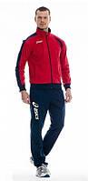 Зимний спортивный костюм, теплый костюм Asics, красный верх, синий низ, с3027