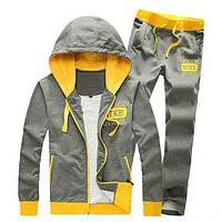Зимний спортивный костюм, теплый костюм Nike, серый с желтыми вставками, с3058