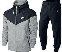Зимний спортивный костюм, теплый костюм Nike, серый низ, черный верх, черные штаны, с3068