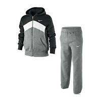 Зимний спортивный костюм , костюм на флисе найк, черный верх, серый низ, серые штаны, с3076