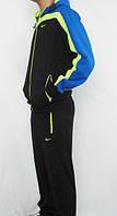 Зимний спортивный костюм , костюм на флисе найк, черный с синими вставками, с3217