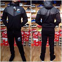 Зимний спортивный костюм, теплый костюм Nike, черный с серой вставкой, с3241