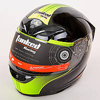 Мотошлем интеграл (full face) со съемным утеплителем Tanked Racing T112-3 (ABS, размер L-XL-58-62, черный-красный-салатовый)