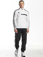 Зимний спортивный костюм , костюм на флисе Adidas, белый верх, черный низ, с лампасами с161