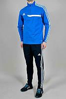Зимний спортивный костюм, теплый костюм Adidas, синяя кофта, черные штаны, с лампасами с279