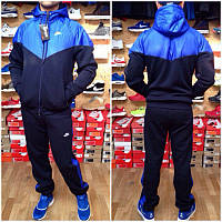Зимний спортивный костюм, теплый костюм Nike, плащевка верх, темно-синий хлопок низ, с3128