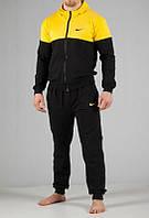 Зимний спортивный костюм, теплый костюм Nike, черный с желтой вставкой, с3188