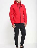 Зимний спортивный костюм, теплый костюм Nike, красная кофта кенгуру на змейке, черные штаны, с3338
